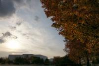 紅葉と逆光の空をDROで