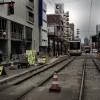 富山地方鉄道環状線: 中町電停工事現場